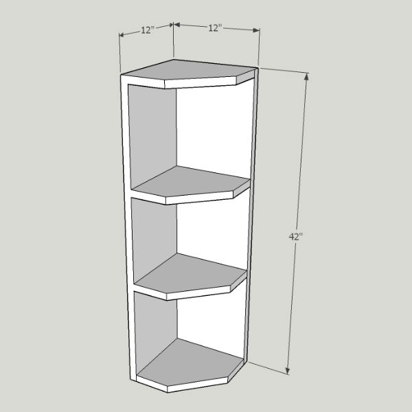 Kitchen Cabinet End Shelf: 3 Shelves – Top Cabinets